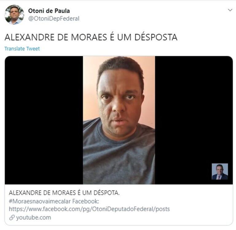 "Vice líder do governo Bolsonaro, Otoni de Paula, ataca ministro do STF: ""canalha"", ""lixo"", ""esgoto"""