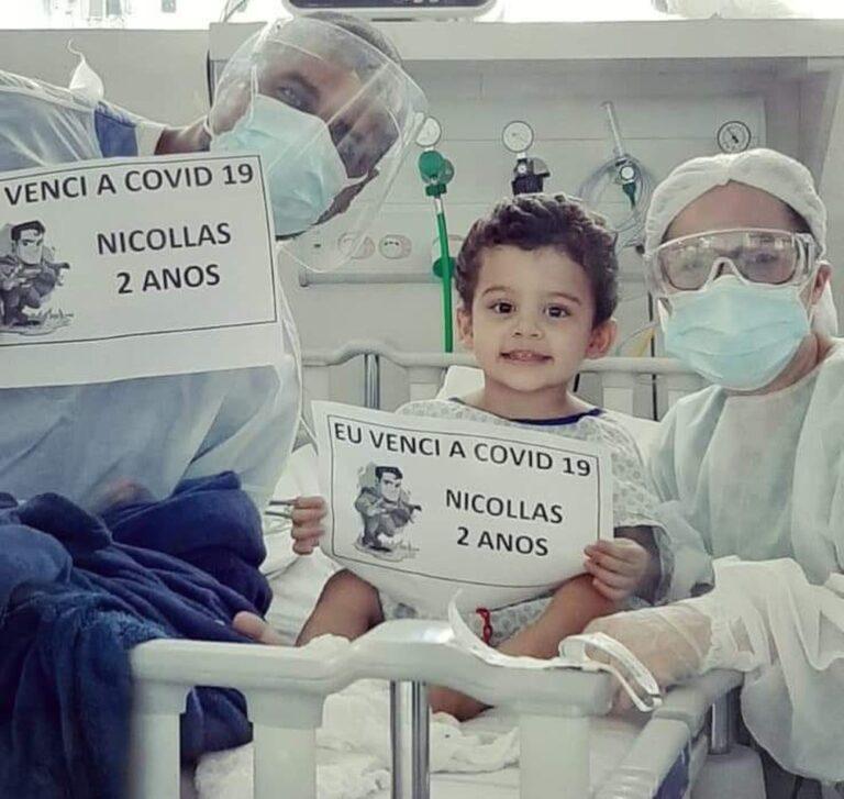 Esperança: Menino de 2 anos diagnosticado com COVID tem alta após 13 dias