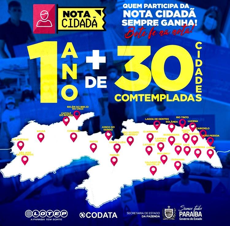 Programa Nota Cidadã já contemplou ganhadores em 31 cidades paraibanas
