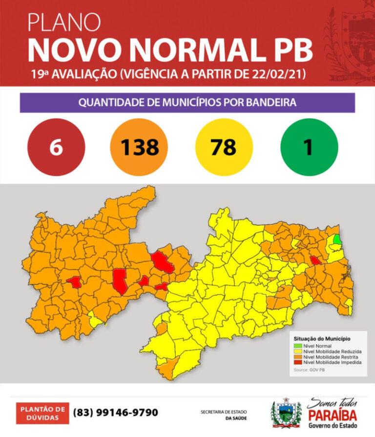 Plano Novo Normal: Paraíba tem 62% dos municípios em bandeira laranja