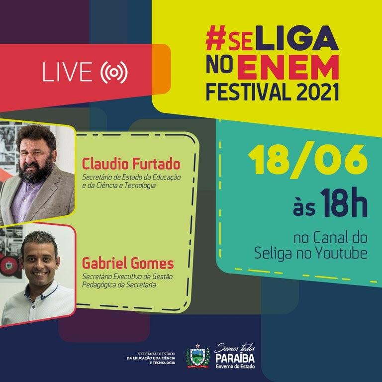 Live inaugural do Se Liga no Enem Festival 2021 acontece nesta sexta-feira. ACESSE O LINK